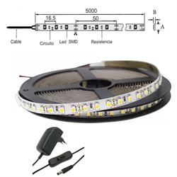 KIT TIRA FLEXIBLE ESTANCA LED 3528 DIA 6500K 1200lm 5.00 mts 12V DC