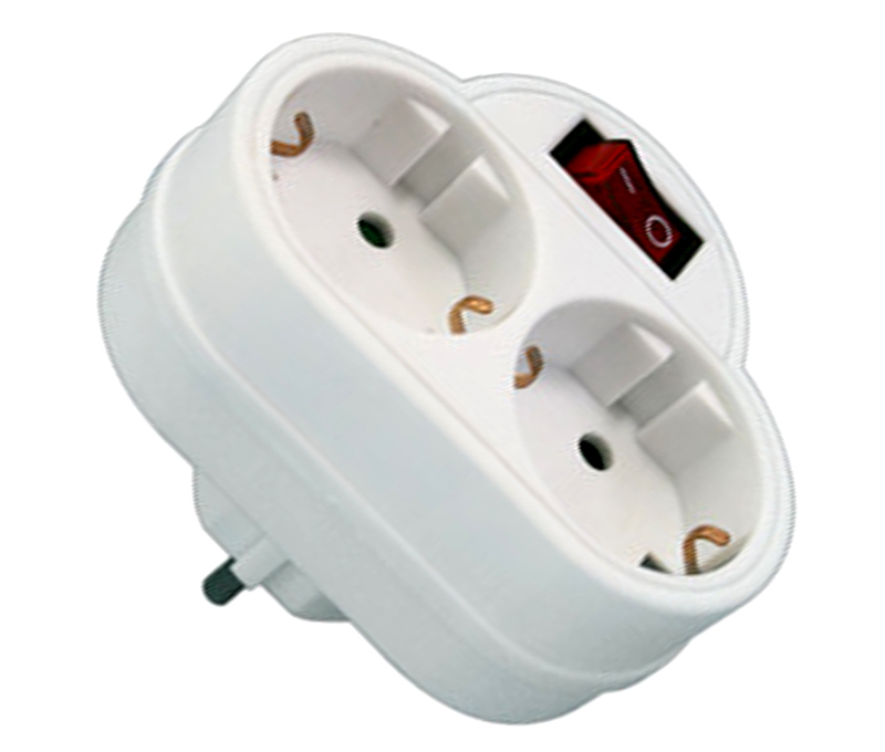 BASE DE ENCHUFE 2 TOMAS CON INTERRUPTOR 36.088